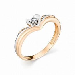Кольцо сердечко с бриллиантом