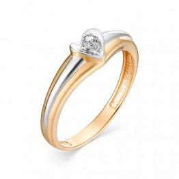 Кольцо в форме сердца с бриллиантом