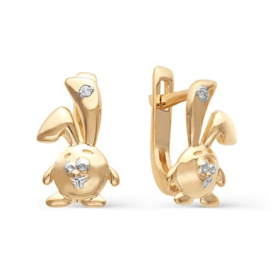 Детские сережки Зайчики с бриллиантами