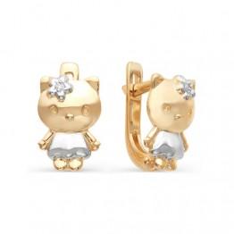 Золотые серьги Хелло Китти с бриллиантами