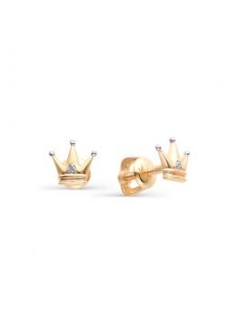 Детские пусеты Корона с бриллиантами