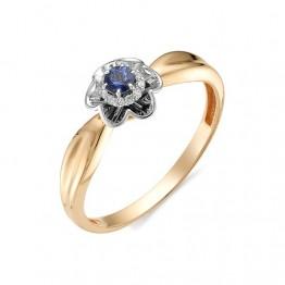 Кольцо цветок с сапфирами и бриллиантами