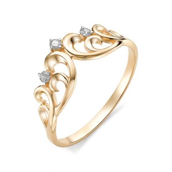 Кольцо ажурная корона с тремя бриллиантами