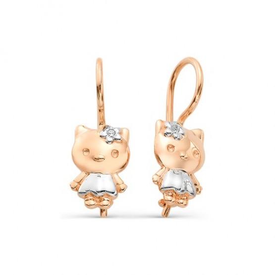 Детские сережки Хелло Китти с бриллиантами