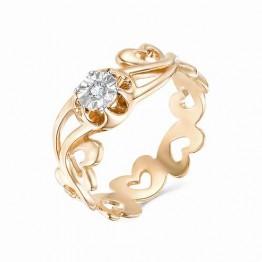 Кольцо ажурное сердечки с бриллиантом