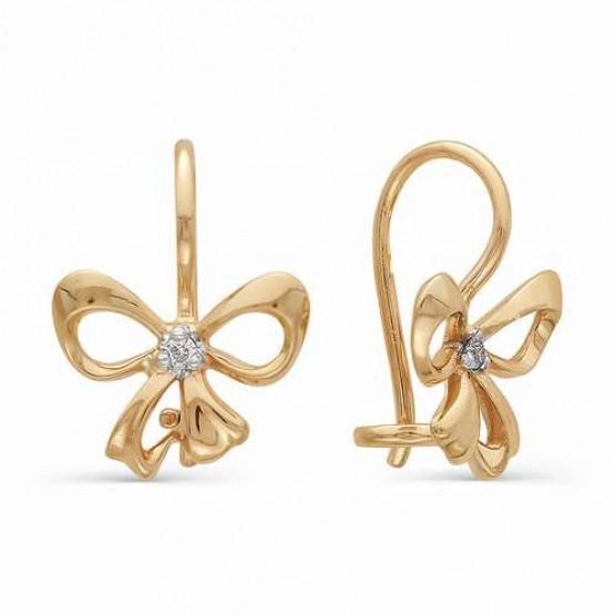 Детские золотые сережки Бантики с бриллиантами