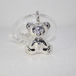 Серебряная погремушка «Медведь» на кольце
