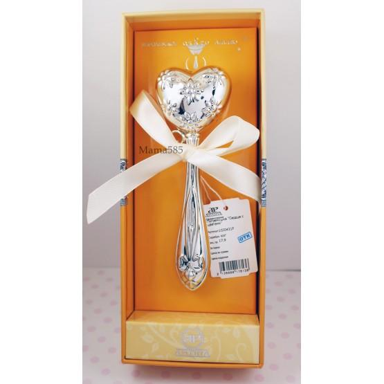 Серебряная погремушка «Сердце с цветами»