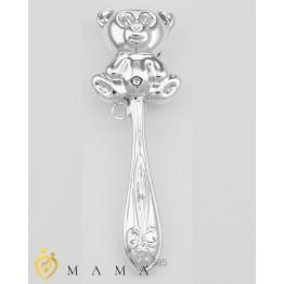 Серебряная погремушка «Медведь»