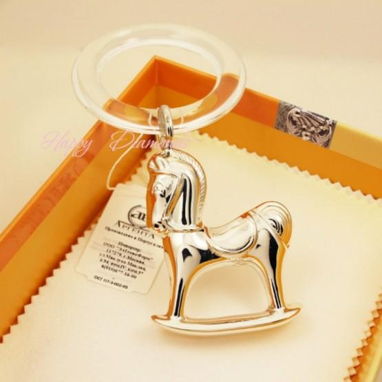 Серебряная погремушка «Лошадка» на кольце