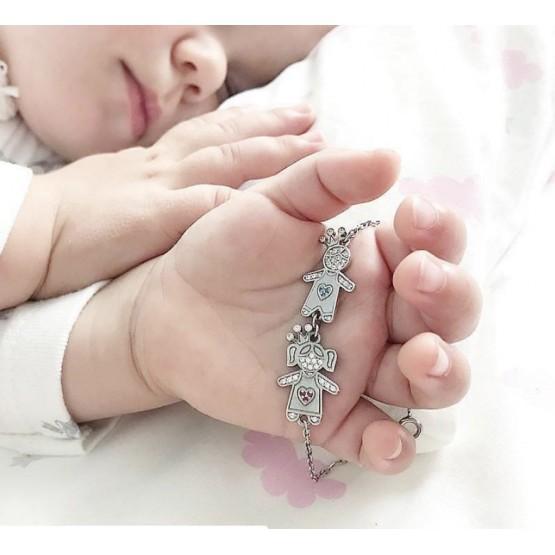 Серебряный браслет с мальчиком и девочкой