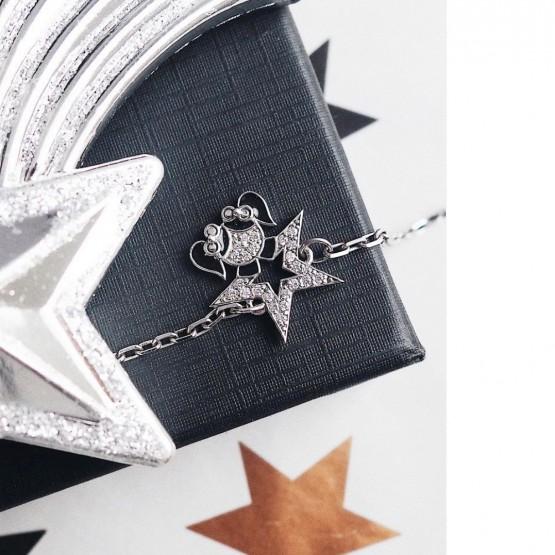 Серебряный браслет Девочка звезда