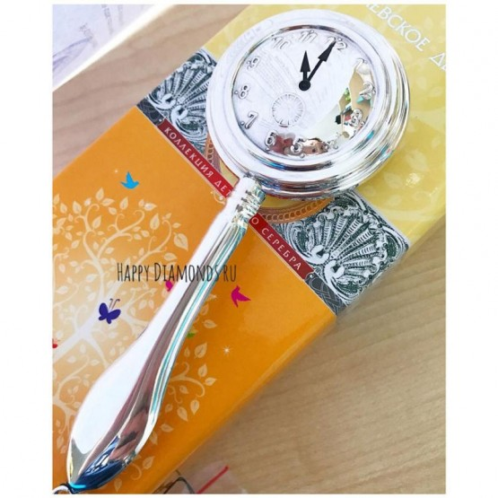 Серебряная погремушка «Часы» под гравировку