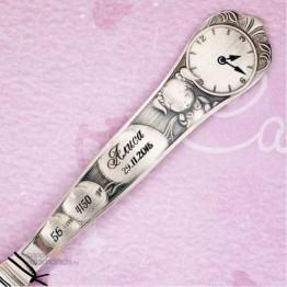 Детская серебряная ложка «Кукла» с часами