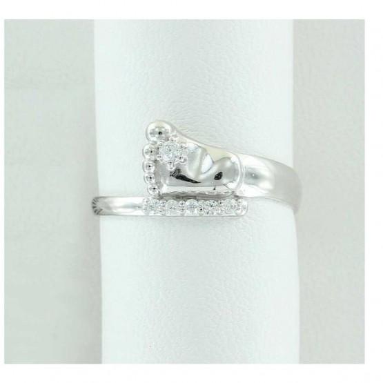 Серебряное кольцо с пяточкой