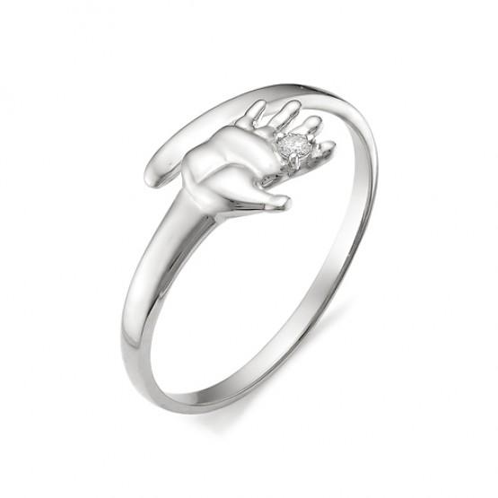 """Золотое кольцо """"Ладошка"""" бриллиант (белое золото)"""