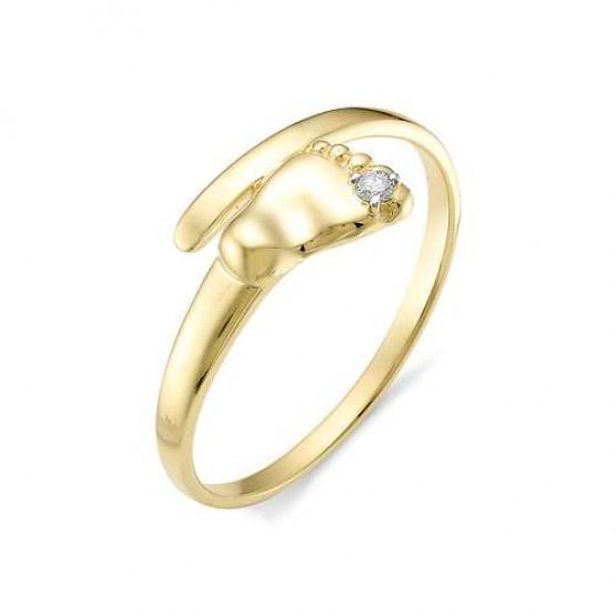 """Золотое кольцо """"Ножка малыша"""" бриллиант (желтое золото)"""
