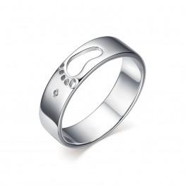 Кольцо с отпечатком ножки и бриллиантом