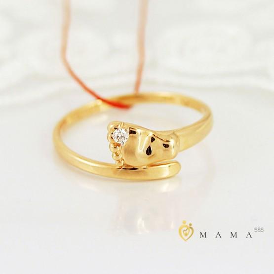 """Золотое кольцо """"Ножка малыша"""" бриллиант"""