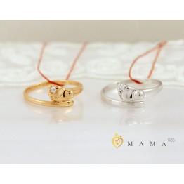 """Золотое кольцо """"Ножка малыша"""" бриллиант (белое золото)"""