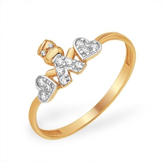 Кольцо «Мальчик» из золота с фианитами