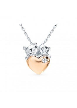 Подвеска Мишки с золотым сердцем на цепочке