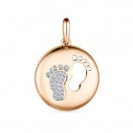 Золотая подвеска маленькие ножки бриллианты