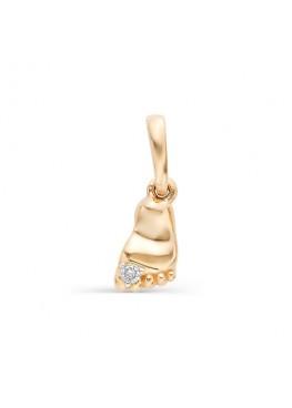 Золотая подвеска Пяточка с бриллиантом