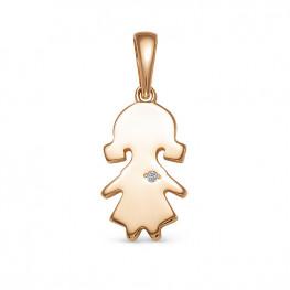 Золотой кулон Девочка с бриллиантом