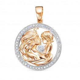 Золотой кулон Мама с бриллиантами