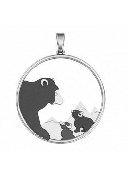 Серебряная подвеска Мама медведица