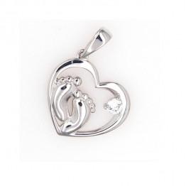 Серебряное сердечко с пяточками