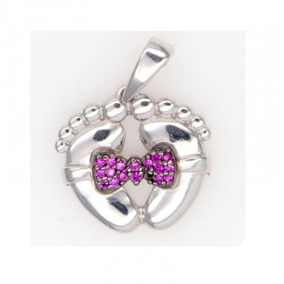 Серебряные пяточки с розовым бантиком
