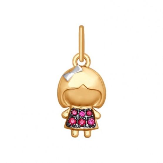Золотая подвеска Девочка 035419