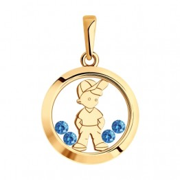 0 Золотой кулон Мальчик в кепке  035820