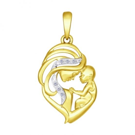 Золотая подвеска Мать и дитя желтое золото с бриллиантами