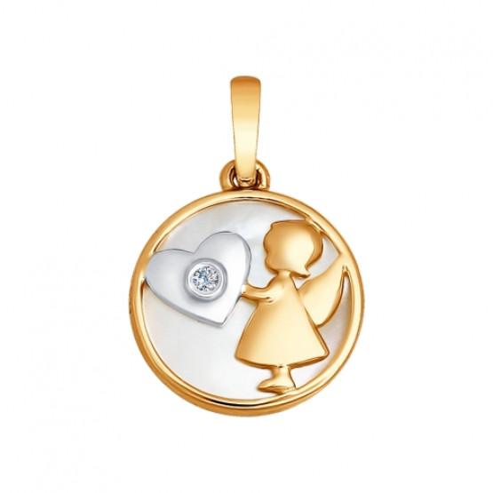 Золотая подвеска Девочка ангел