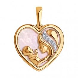 Золотая подвеска Мама на розовом перламутре 1030587
