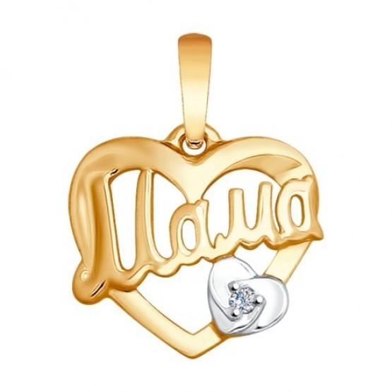 Золотая подвеска сердечко Мама 1030609