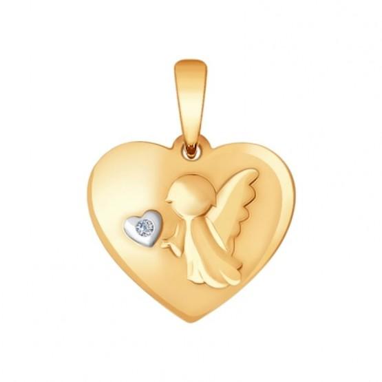 Кулон с ангелочком и бриллиантом