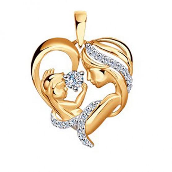 Золотая подвеска Мать и Дитя