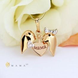 Золотая подвеска Мама с бриллиантом 1030543