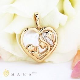 Золотая подвеска Мама и малыш бриллианты 1030579