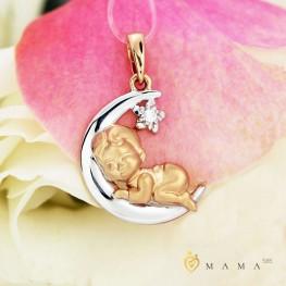 Золотая подвеска Малыш с бриллиантом 1030593