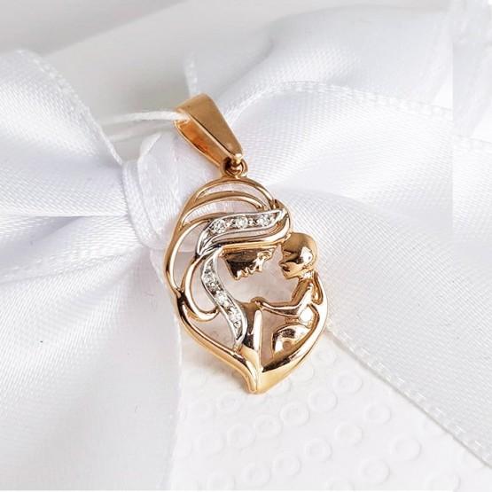 Золотая подвеска Мамино счастье с бриллиантами 1030510
