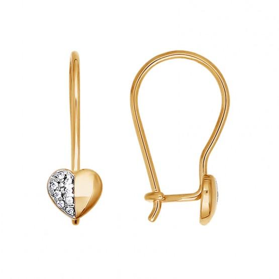 Золотые сережки для девочки Сердце Sokolov_026312