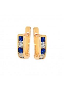 Золотые серьги дорожки с белыми и синими фианитами