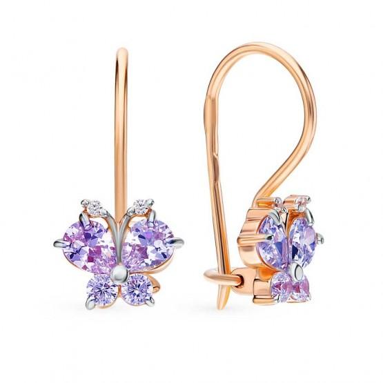 Детские сережки Бабочки фиолетовые