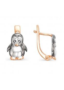 Детские серьги Пингвин