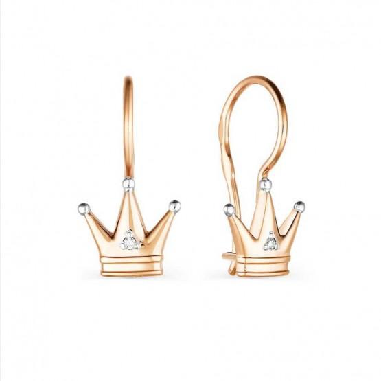 Детские сережки в форме Короны с бриллиантами